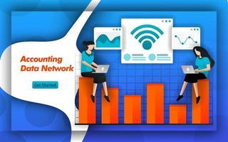 Internet- und WLAN-Netzwerke erleichtern dem Buchhaltungsdatennetz die Ermittlung der Kostenrechnung und der Steuerplanung. Buchhaltungsdienste bieten Datenzugriff für kleine Unternehmen. flacher Vektorstil vektor