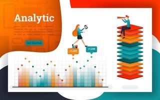 Poster oder Webseiten für Analyse- und Finanzzwecke vektor