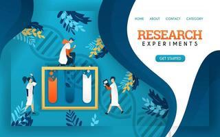 Forschungsexperiment. Gesundheitsbanner. junge Wissenschaftler untersuchten Flüssigkeiten in Röhrchen. flache Karikaturvektorillustration vektor