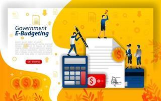 Online-Finanzplanung, digitale Budgetierung, Online-Budgetierung der Regierung, E-Budgetierungstechnologie, Konzeptvektorillustration. kann für, Landing Page, Vorlage, UI, Web, mobile App, Poster, Banner verwenden vektor