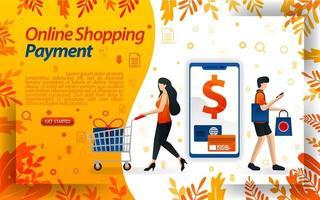 Online-Zahlungsmethoden für E-Commerce. Online-Shopping-Zahlungen mit Smartphones und Kreditkarten, Vektorabbildung. kann für, Landing Page, Vorlage, UI, Web, mobile App, Poster, Banner, Flayer verwenden vektor