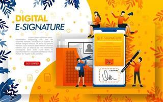 digitale Signatur für die Sicherheit von Dokumenten. E-Signaturen für geschäftliche Zwecke und zum Treffen von Vereinbarungen, Konzeptvektorillustration. kann für, Landing Page, Vorlage, UI, Web, mobile App, Poster, Banner verwenden vektor