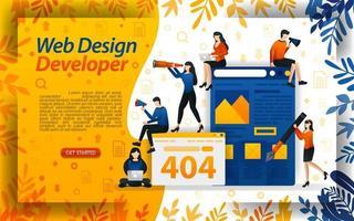 Webdesign-Entwickler. eine Website erstellen. Website erstellen. Verbesserung von Netzwerk und Codierung, Konzeptvektorillustration. kann für Zielseite, Vorlage, Benutzeroberfläche, Web, mobile App, Poster, Banner, Flyer, Dokument verwendet werden vektor