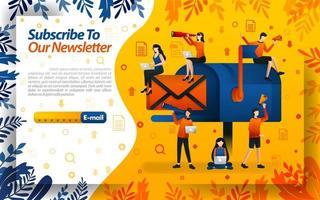 Abonniere unseren Newsletter. E-Mail mit großen Postfachbildern. Abonnieren Sie Informationen und Videos, Konzept Vektor Illustration. kann für, Landingpage, Vorlage, UI, Web, mobile App, Poster, Flayer verwenden