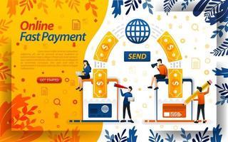 snabbaste onlinebetalningen. överföra pengar online med kort och smartphones. skicka pengar, koncept vektorillustration. kan användas för, målsida, mall, ui, webb, mobilapp, affisch, banner, flayer