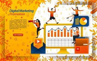 öka försäljningen med digitala marknadsföringsvideor, onlinekampanjer, nyhetsbrev via e-post, konceptvektorillustration. kan användas för målsida, mall, ui, webb, mobilapp, affisch, banner, flygblad, webbplats vektor