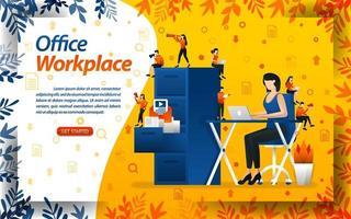 kvinnliga arbetare arbetar på uppdrag på skrivbordet med arbetsplatskontor och dokumenthyllor, konceptvektorillustration. kan användas för målsida, mall, ui, webb, mobilapp, affisch, banner vektor