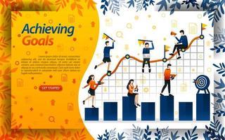 Ziele im Geschäft erreichen. Menschen versuchen, Ziele in der Verkaufstabelle, Konzept Vektor Illustration zu erreichen. kann für Zielseite, Vorlage, Benutzeroberfläche, Web, mobile App, Poster, Banner, Flyer, Dokument, Website verwendet werden