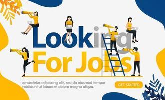 auf der Suche nach Jobwörtern mit vielen Menschen, die ein Fernglas tragen, um eine Chance zu bekommen, Konzeptvektorillustration. kann für Zielseite, Vorlage, Benutzeroberfläche, Web, mobile App, Poster, Banner, Flyer, Hintergrund verwendet werden vektor