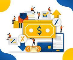 Anstieg und Senkung der Preise für Geld und Waren. Geldhandel, um Prozentsatz der Währung zu bestimmen, Konzeptvektorillustration. kann für UI, Web, mobile App, Poster, Banner, Website verwenden vektor