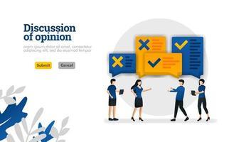 Die Diskussion der Meinung mit Illustrationen von Personen, die über das Konzept der Vektorillustration debattierten, kann für Zielseite, Vorlage, Benutzeroberfläche, Web, mobile App, Poster, Banner, Website verwendet werden vektor