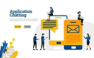 chatt- och konversationsapplikationer för att skicka sms och e-postmeddelanden vektorillustrationskoncept kan användas för, målsida, mall, ui ux, webb, mobilapp, affisch, banner, webbplats vektor