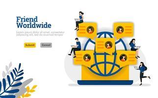 Freund weltweit für Community, Social Media, Partys und Gruppen Vektor-Illustration Konzept kann verwendet werden, Landing Page, Vorlage, UIux, Web, mobile App, Poster, Banner, Website vektor