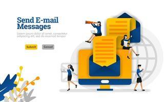 Senden von E-Mail-Nachrichten und Artikeln von Ende zu Ende. Umschläge und Computer Vektor-Illustration Konzept kann verwendet werden, Landing Page, Vorlage, UIux, Web, mobile App, Poster, Banner, Website