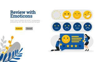 Überprüfung mit Emoticons. Personen, die Bewertungen und Vorschläge mit Emoticons Vektor-Illustrationskonzept geben, können für, Landing Page, Vorlage, UIux, Web, mobile App, Poster, Banner, Website verwendet werden vektor