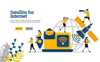 Satellit für Dinge des Internets und des täglichen und geschäftlichen digitalen Bedarfs Vektorillustrationskonzept kann verwendet werden für, Landing Page, Vorlage, UIux, Web, mobile App, Poster, Banner, Website vektor