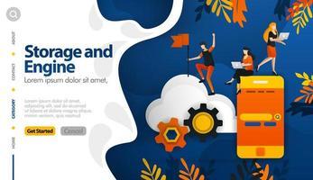 Cloud-Speicher und Maschinen im Speicher, die das Speicherprozess-Vektor-Illustrationskonzept sichern, können für, Zielseite, Vorlage, Benutzeroberfläche, Web, mobile App, Poster, Banner, Website verwendet werden