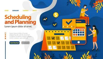 Das Planen und Planen von Apps, das Planen von Reisen, das Bestimmen von Besprechungen und Aktivitäten sowie das Vektorillustrationskonzept können für Zielseiten, Vorlagen, Benutzeroberflächen, Web, mobile Apps, Poster, Banner und Websites verwendet werden vektor