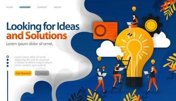 auf der Suche nach Ideen und Lösungen für Probleme, Brainstorming für Ideen Vektor-Illustration Konzept kann verwendet werden, Landing Page, Vorlage, UIux, Web, mobile App, Poster, Banner, Website vektor
