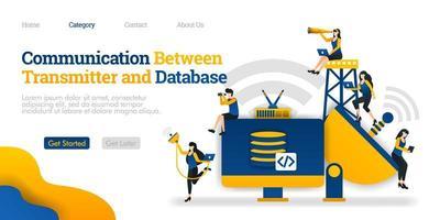 Kommunikation zwischen Sender und Speichergerät. Datenbank verarbeitet Daten im Gerät. Vektor flache Illustration Konzept, kann verwendet werden, Landing Page, Vorlage, UI, Web, Homepage, Poster, Banner, Flyer