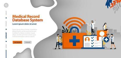 Datenbanksystem für Krankenakten, WLAN-Internet zur Aufzeichnung der Krankheitsgeschichte des Patienten. Das Vektorillustrationskonzept kann für Zielseite, Vorlage, Benutzeroberfläche, Web, mobile App, Poster, Banner, Website verwendet werden vektor