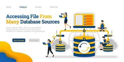 Zugriff auf Dateien aus vielen Datenbankquellen. Kommunikation zwischen Datenbank und persönlichem Gerät. Vektor flache Illustration Konzept, kann für, Landing Page, Vorlage, UI, Web, Homepage, Poster, Banner verwenden