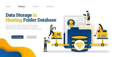 Datenspeicherung im Hosting-Datenbankordner. Öffnen und ändern Sie verschiedene Dateien aus dem Hosting-Ordner. Vektor flache Illustration Konzept, kann verwendet werden, Landing Page, Vorlage, Web, Homepage, Poster, Banner, Flyer