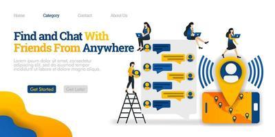 Finde und chatte mit Freunden von überall. Finde und kommuniziere mit Freunden aus aller Welt. Vektor flache Illustration Konzept, kann für Landing Page, Vorlage, UI, Homepage, Poster, Banner verwenden