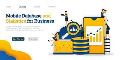 Mobile Datenbank und Statistiken für Unternehmen, Sammeln verschiedener Daten in der Cloud-Datenbank. Vektor flache Illustration Konzept, kann verwendet werden, Landing Page, Vorlage, UI, Web, Homepage, Poster, Banner, Flyer