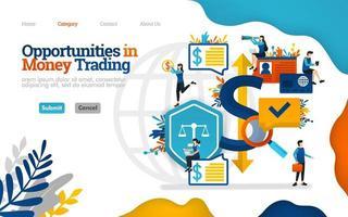 Möglichkeiten im Geldhandel. Treffen Sie Entscheidungen und Entscheidungen bei Finanzinvestitionen. Vektor flache Illustration Konzept, kann verwendet werden, Landing Page, Vorlage, UI, Web, Homepage, Poster, Banner, Flyer