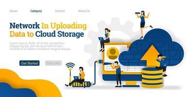 Netzwerk beim Hochladen von Daten in den Cloud-Speicher. Laden Sie Daten in der Datenbank zur Freigabe in die Cloud hoch. Vektor flache Illustration Konzept, kann verwendet werden, Landing Page, Vorlage, Web, Homepage, Poster, Banner, Flyer