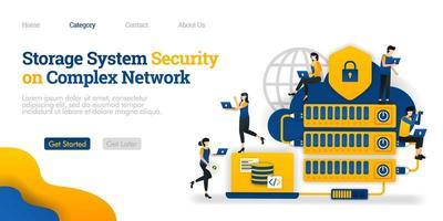 lagringssystemsäkerhet i komplexa nätverk. hosting komplicerat för datasäkerhet. vektor platt illustration koncept, kan användas för, målsida, mall, ui, webb, hemsida, affisch, banner, flygblad