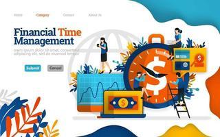 finanzielles Zeitmanagement. Finanzen effektiv verwalten. Bester Investmentpartner ist Zeit. Vektor flache Illustration Konzept, kann verwendet werden, Landing Page, Vorlage, UI, Web, Homepage, Poster, Banner, Flyer