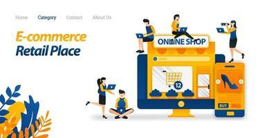 E-Commerce macht es einfach, von überall auf dem Bildschirm einzukaufen. Kaufen Sie viele Waren in vielen Geschäften und im Einzelhandel. Vektorillustration. flacher Symbolstil geeignet für Web-Landingpage, Banner, Flyer, Hintergrundbild vektor