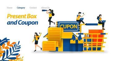 Präsentieren Sie Box-Designs mit verschiedenen Accessoires, Geschenkgutscheinen und Einkaufswagen. Vektor-Illustration, flacher Symbolstil, geeignet für Web-Landingpage, Banner, Flyer, Aufkleber, Tapete, Karte, Hintergrund