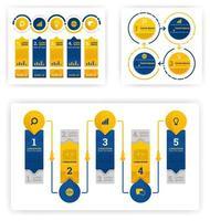 Infografik-Sammlung für verschiedene Zwecke aus Wirtschaft, Buchhaltung und Präsentation. Vektor flache Illustration Konzept, kann verwendet werden, Landing Page, Vorlage, UI, Web, Homepage, Poster, Banner, Flyer