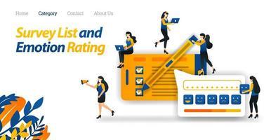 Kunden führen Zufriedenheitsumfragen zu Online-Shop-Diensten durch und geben mit Emoticon verschiedene emotionale Bewertungen ab. Vektorillustration, flacher Symbolstil, geeignet für Web-Landingpage, Banner, Flyer vektor