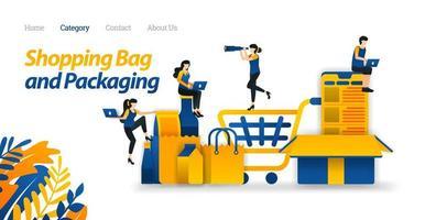 Einkaufswagen zum Transport von Waren in Online-Shops und verschiedenen Verpackungsdesignmodellen. Vektor-Illustration, flacher Symbolstil geeignet für Web-Landingpage, Banner, Flyer, Aufkleber, Tapete, Karte, UI
