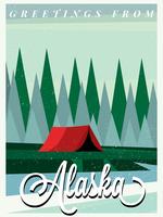 Alaska skogen och tältvykortet