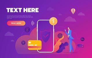 penningtransaktion runt om i världen, företag, mobilbank och mobilbetalning. vektor illustration