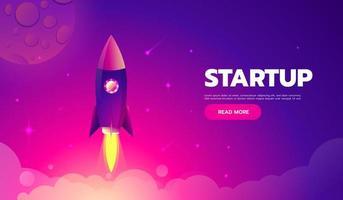 Startkonzept. Raketenstart-Symbol - kann verwendet werden, um kosmische Themen oder eine Unternehmensgründung zu veranschaulichen, bei der ein neues Unternehmen gegründet wird