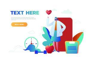 flaches Designkonzept Web- und Handy-App, medizinisches Konzept, Infografik, flacher Stil mit Arzt, Vektor. vektor