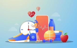 online shopping webb banner koncept. e-handelsapp på mobiltelefon. Sport affär. isolerad vektorillustration i platt stil. vektor