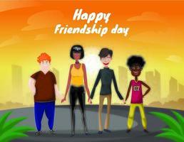 Gruppe von vier glücklichen verschiedenen Freunden, die mit Stadt- und Sonnenaufganghintergrund gehen. Fröhlicher Freundschafts-Tag vektor