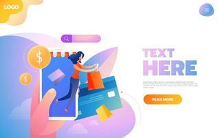 shoppingkoncept med karaktärer. kommersiell kassa betalning, e-handel detaljhandel på enhet. platt isometrisk tecken illustration.