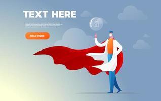 Super Doktor. Charakter Gesundheitswesen Konzept - Vektor-Illustration. empfehlen zu Hause zu bleiben. vektor