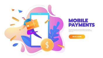 platt designstil vektorillustration av modern smartphone med bearbetning av mobila betalningar från kreditkort. internetbank koncept. vektor