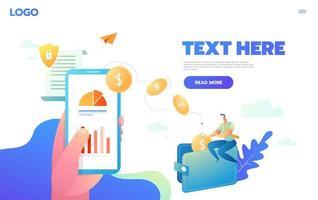 vektor koncept för global överföring av pengar. skicka gula mynt från smart telefon i affärsmanhänder. illustration i platt stil