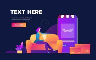 koronavirusepidemi i karantän. E-handel. stanna hemma. rädd flicka shopping på mobiltelefon hemma. karantän. vektor platt illustration.
