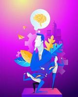 affärslag. kontorsarbete. koncept illustration. grupp affärsman grupp som arbetar som ett team. vektor